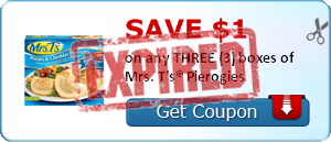 SAVE $1.00 on any THREE (3) boxes of Mrs. T's® Pierogies