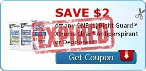 SAVE $2.00 off any ONE (1) Right Guard® Xtreme Clear® Antiperspirant or Deodorant