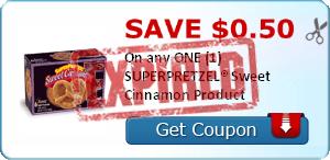 SAVE $0.50 On any ONE (1) SUPERPRETZEL® Sweet Cinnamon Product