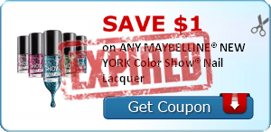 SAVE $1.00 on ANY MAYBELLINE® NEW YORK Color Show® Nail Lacquer