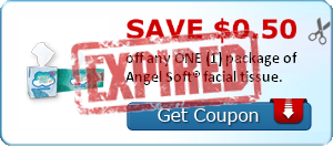 SAVE $0.50 off any ONE (1) package of Angel Soft® facial tissue.