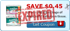 SAVE $0.45 off any ONE (1) package of Angel Soft® bathroom tissue.