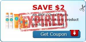 SAVE $2.00 on ANY L'Oréal® Paris Advanced Suncare product (excludes trial size)
