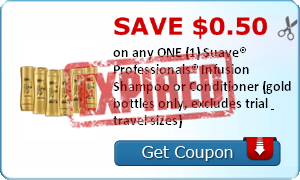 SAVE $0.50 on any ONE (1) Suave® Professionals® Infusion Shampoo or Conditioner (gold bottles only, excludes trial & travel sizes)