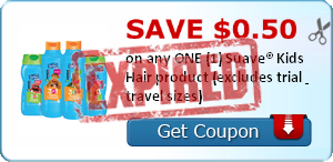 SAVE $0.50 on any ONE (1) Suave® Kids Hair product (excludes trial & travel sizes)