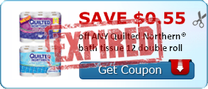 SAVE $0.55 off ANY Quilted Northern® bath tissue 12 double roll