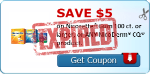 SAVE $5.00 on Nicorette® Gum 100 ct. or larger, or ANY NicoDerm® CQ® product.