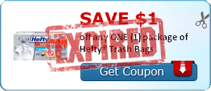 SAVE $1.00 off any ONE (1) package of Hefty® Trash Bags