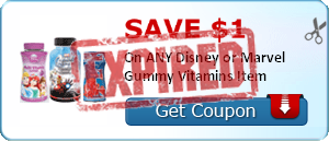SAVE $1.00 On ANY Disney or Marvel Gummy Vitamins Item