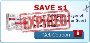 SAVE $1.00 off any TWO (2) packages of Vanity Fair® Napkins or Guest Hand Towels.
