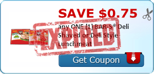 SAVE $0.75 any ONE (1) BAR-S® Deli Shaved or Deli Style Lunchmeat