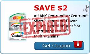 SAVE $2.00 off ANY Centrum® or Centrum® Silver®, Centrum® Flavor Burst®, Centrum® Kids® or Centrum Specialist® Multivitamins