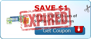 SAVE $1.00 on any FIVE (5) boxes of Scotties® facial tissues