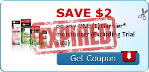 SAVE $2.00 on any ONE (1) Garnier® moisturizer (Excluding Trial Size)