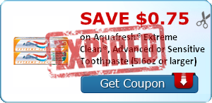 5 149096 $.75 Aquafresh Kids Toothpaste! (Walgreens)