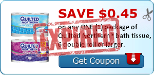 SAVE $0.45 on any ONE (1) package of Quilted Northern® bath tissue, 6 double roll or larger.