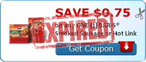 SAVE $0.75 on any ONE (1) BAR-S® Smoked Sausage or Hot Link