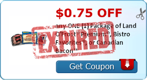 $0.75 OFF any ONE (1) Package of Land O'Frost® Premium®, Bistro Favorites®, or Canadian Bacon™