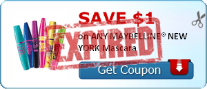 SAVE $1.00 on ANY MAYBELLINE® NEW YORK Mascara
