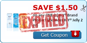 SAVE $1.50 on any ONE (1) K-Y® Brand Product (Excludes K-Y® Jelly 2 oz)
