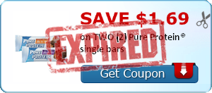 SAVE $1.69 on TWO (2) Pure Protein® single bars