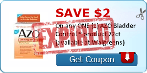 SAVE $2.00 On any ONE (1) AZO Bladder Control™ product 72ct (available at Walgreens)