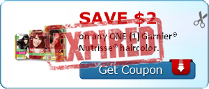 SAVE $2.00 on any ONE (1) Garnier® Nutrisse® haircolor.