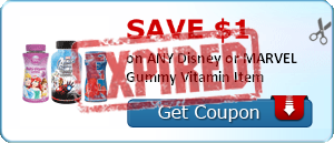 SAVE $1.00 on ANY Disney or MARVEL Gummy Vitamin Item