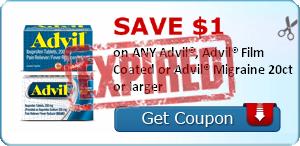 SAVE $1.00 on ANY Advil®, Advil® Film Coated or Advil® Migraine 20ct or larger