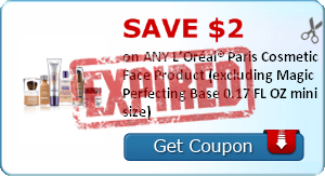 SAVE $2.00 on ANY L'Oréal® Paris Cosmetic Face Product (excluding Magic Perfecting Base 0.17 FL OZ mini size)