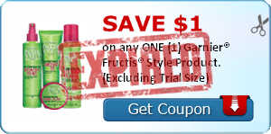 SAVE $1.00 on any ONE (1) Garnier® Fructis® Style Product. (Excluding Trial Size)