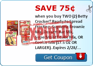 Save 75¢ when you buy TWO (2) Betty Crocker® Ready to Spread Frosting, Supreme Brownie Mix, Dessert Bar Mix, SuperMoist® Cake Mix, OR Cookie Mix (17.5 OZ OR LARGER)..Expires 2/28/2014.Save $0.75.