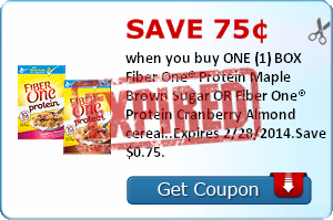Save 75¢ when you buy ONE (1) BOX Fiber One® Protein Maple Brown Sugar OR Fiber One® Protein Cranberry Almond cereal..Expires 2/28/2014.Save $0.75.