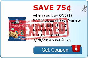 Save 75¢ when you buy ONE (1) PACKAGE any flavor/variety Immaculate Baking® Refrigerated Cookie Dough..Expires 2/28/2014.Save $0.75.