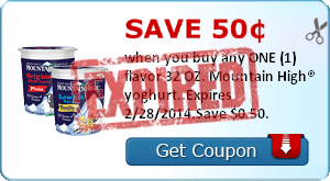 Save 50¢ when you buy any ONE (1) flavor 32 OZ. Mountain High® yoghurt..Expires 2/28/2014.Save $0.50.