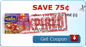 Save 75¢ when you buy any ONE (1) Wasa Crispbread Crackers.Expires 4/9/2014.Save $0.75.