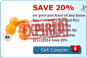 Save 20% on your purchase of any loose Navel Oranges (labeled PLU #3110) at participating retailers. See offer info for complete details. Check back every Tuesday for a new Healthy Offer!.Expires 2/17/2014.Save 20%.