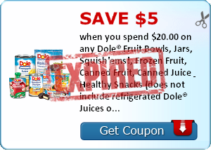 Save $5.00 when you spend $20.00 on any Dole® Fruit Bowls, Jars, Squish'ems!, Frozen Fruit, Canned Fruit, Canned Juice & Healthy Snacks (does not include refrigerated Dole® Juices or Dole® Bagged Salads)..Expires 3/5/2014.Save $5.00.