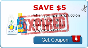 Save $5.00 when you spend $15.00 on any all® Laundry Detergent..Expires 3/5/2014.Save $5.00.
