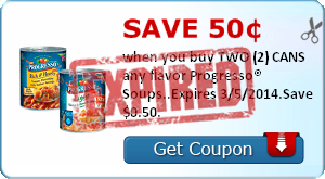 Save 50¢ when you buy TWO (2) CANS any flavor Progresso® Soups..Expires 3/5/2014.Save $0.50.