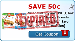 Save 50¢ when you buy any ONE (1) box of Sunbelt® Bakery Granola Bars.Expires 4/2/2014.Save $0.50.(Only at Food Lion)