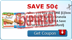 Save 50¢ when you buy any ONE (1) box of Sunbelt® Bakery Granola Bars.Expires 4/2/2014.Save $0.50.(Only at Hannaford)