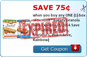 Save 75¢ when you buy any ONE (1) box of Sunbelt® Bakery Granola Bars.Expires 4/2/2014.Save $0.75.(Only at Copps, Mariano's, Pick n Save, Rainbow)