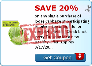 Save 20% on any single purchase of loose Cabbage at participating retailers. See offer info for complete details. Check back every Tuesday for a new Healthy Offer..Expires 3/17/2014.Save 20%.