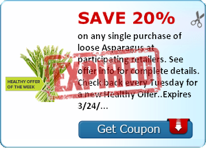 Save 20% on any single purchase of loose Asparagus at participating retailers. See offer info for complete details. Check back every Tuesday for a new Healthy Offer..Expires 3/24/2014.Save 20%.