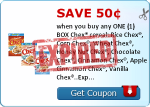 Save 50¢ when you buy any ONE (1) BOX Chex® cereal: Rice Chex®, Corn Chex®, Wheat Chex®, Honey Nut Chex®, Chocolate Chex®, Cinnamon Chex®, Apple Cinnamon Chex®, Vanilla Chex®..Expires 3/31/2014.Save $0.50.