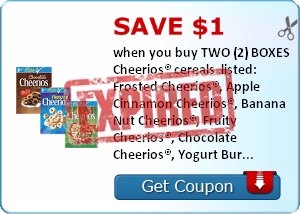 Save $1.00 when you buy TWO (2) BOXES Cheerios® cereals  listed: Frosted Cheerios®, Apple Cinnamon Cheerios®, Banana Nut Cheerios®, Fruity Cheerios®, Chocolate Cheerios®, Yogurt Burst Cheerios®, Cinnamon Burst Cheerios®, Dulce de Leche Cheerios®..Expires