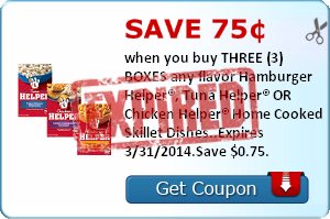 Save 75¢ when you buy THREE (3) BOXES any flavor Hamburger Helper®, Tuna Helper® OR Chicken Helper® Home Cooked Skillet Dishes..Expires 3/31/2014.Save $0.75.