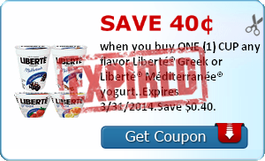 Save 40¢ when you buy ONE (1) CUP any flavor Liberté® Greek or Liberté® Méditerranée® yogurt..Expires 3/31/2014.Save $0.40.