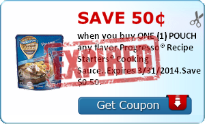 Save 50¢ when you buy ONE (1) POUCH any flavor Progresso® Recipe Starters® Cooking Sauce..Expires 3/31/2014.Save $0.50.